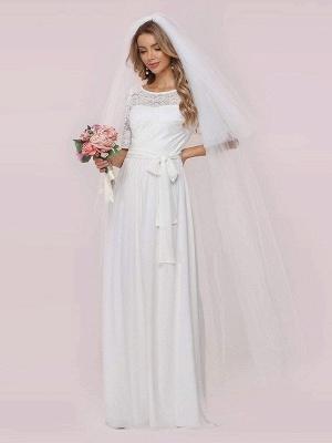 Weißes Einfaches Brautkleid Chiffon Jewel Neck Kurze Ärmel Schärpe A-Linie Lange Brautkleider_6