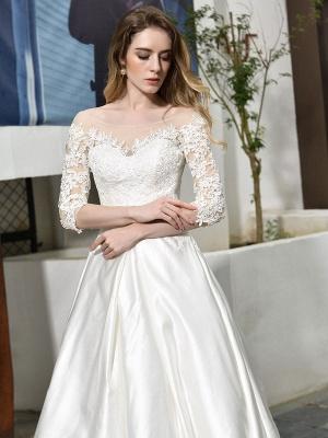 Vestido de novia simple Cuello joya Medias mangas Una línea Vestidos de novia con cuentas con tren_7