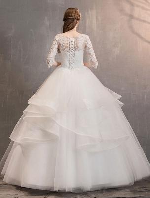 Elfenbein Brautkleider Tüll Illusion Ausschnitt Halbarm Bodenlangen Prinzessin Brautkleid_5
