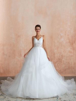 Ballkleid Brautkleid 2021 Prinzessin Träger Hals Ärmellos Natürliche Taille Besetzte Tüll Brautkleider Mit Zug_2