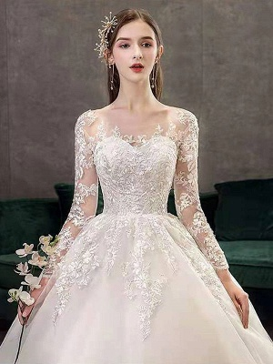 New Vintage Wedding Dresses Eric White Jewel Neck Long Sleeves Natural Waist Satin Fabric Cathedral Train Applique Traditional Dresses For Bride_5