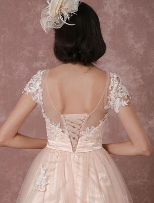 Wedding Dress Short Vintage Bridal Dress Backless Illusion Lace Applique Tea-Length A-Line Reception Bridal Gown Exclusive_10