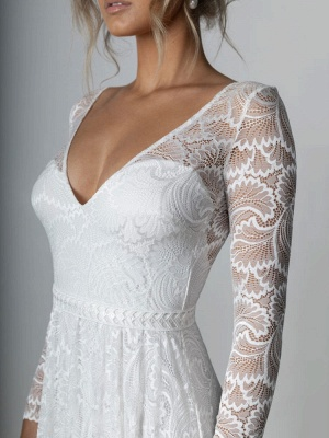 Ivory Lace Wedding Dress Chapel Train A-Line Long Sleeves Lace V-Neck Long Bridal Gowns_7