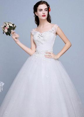 Ivory Wedding Dress Lace Sleeveless V Neck Rhinestones Beaded A-Line Floor Length Bridal Gown_8