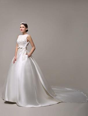Vestido de novia de encaje con espalda descubierta y cuello barco con bolsillos de inserción Exclusivo_3