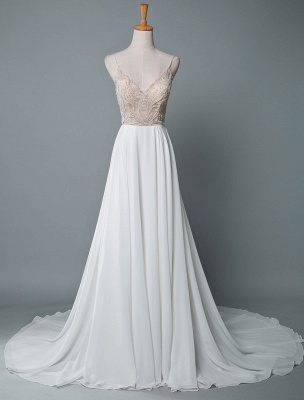 Simple Wedding Dress A Line V Neck Sleeveless Embroidered Chiffon Bridal Dresses With Train_1