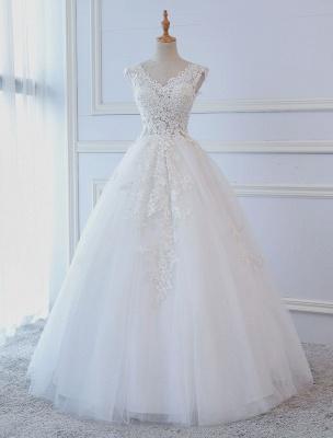 Robes de mariée princesse robes de bal dentelle col en V sans manches longueur de plancher robes de mariée_1