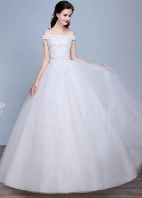 Lace Wedding Dress Off The Shoulder Floor Length Lace Up Applique Bridal Dress With Beads Sequins_2