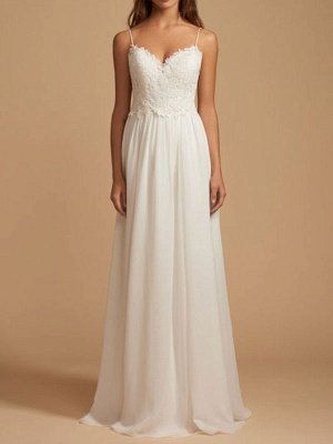 Simple Wedding Dress 2021 A Line V Neck Straps Sleeveless Lace Chiffon Bridal Dresses With Train For Beach Party_1