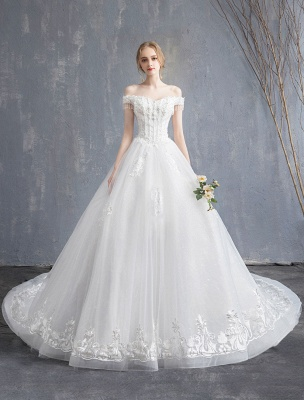 Princess Wedding Dresses Ball Gown Lace Beaded Chains Off The Shoulder Bridal Dress_1