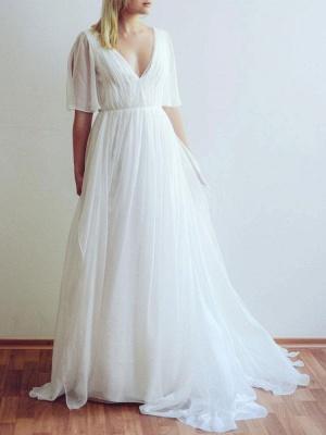 Simple Wedding Dress V Neck Half Sleeves Pleated A Line Floor Length Bridal Dresses_1