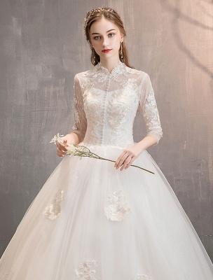 Tüll Brautkleider Elfenbein Illusion Ausschnitt Halbarm Bodenlangen Prinzessin Brautkleid_7