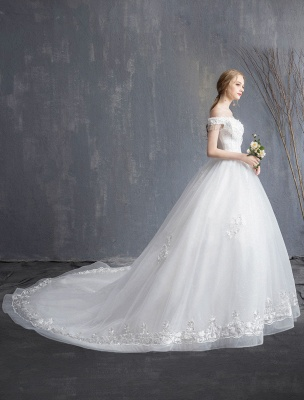 Princess Wedding Dresses Ball Gown Lace Beaded Chains Off The Shoulder Bridal Dress_2