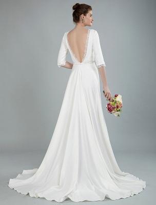 Einfache Hochzeitskleid Perlen Schärpe Rückenfrei Bateau-Ausschnitt Halbarm A-Linie Brautkleider Mit Hofzug Exklusiv_11