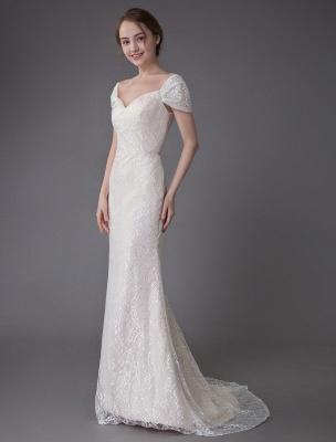 Robe de mariée en dentelle crème vanille chérie robe de mariée à manches courtes robe de mariée sirène avec train exclusif_5