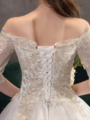 Princess-Wedding-Dresses-Ivory-Lace-Applique-Off-The-Shoulder-Half-Sleeve-Bridal-Gown-With-Train_8