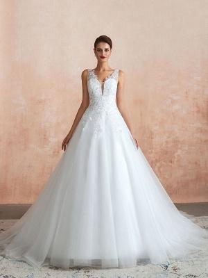 Wedding Dress 2021 V Neck Princess Sleeveless Floor Length Tulle Bridal Gown With Train_4