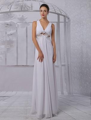 Empire Chiffon V-Ausschnitt Brautkleid mit Illusion Rücken und Blumenapplikation Exklusiv_2