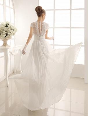 Vestido de novia con escote en pico y encaje hasta el suelo exclusivo_4
