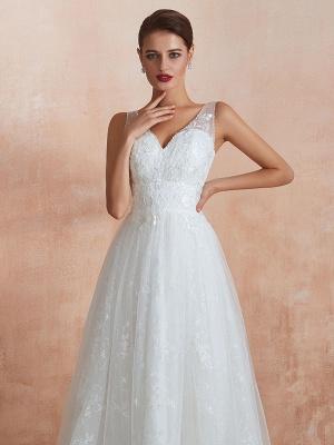 Wedding Dress 2021 A Line V Neck Sleeveless Floor Length Bridal Gowns With Train_7