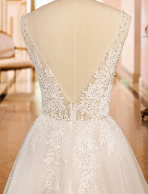 Simple Wedding Dress 2021 A Line V Neck Straps Sleeveless Lace Appliqued Tulle Bridal Gown_8
