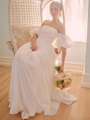 Weißes einfaches Brautkleid A-Linie schulterfrei Chiffon trägerlose lange Brautkleider_2