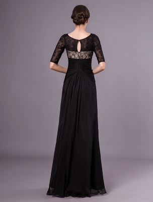 Schwarze Abendkleider Halbarm Spitze Perlen Chiffon Lange Abendkleider Hochzeitsgast Kleid_6