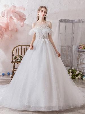 Wedding Dress Princess Silhouette Jewel Neck Short Sleeves Natural Waist Cathedral Train Bridal Dresses_1