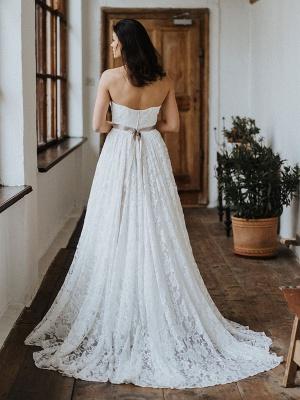Einfache Brautkleider Brautkleider aus Spitze Trägerlose Brautkleider in A-Linie_8