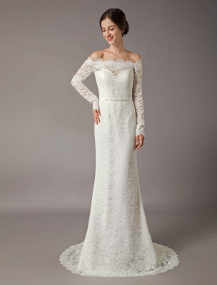 Lace Wedding Dresses Off The Shoulder Long Sleeve Beaded Sash Bridal Gowns With Train_3