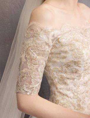 Tulle Wedding Dress Off The Shoulder Half Sleeve Princess Bridal Gown_11