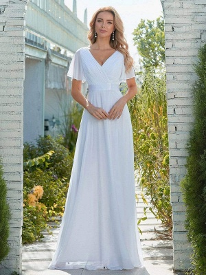 Simple Wedding Dress Chiffon V-Neck Short Sleeves Backless A-Line Long Bridal Gowns_1