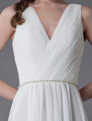 Beach Wedding Dresses Chiffon V Neck High Low Sash Summer Bridal Dress Exclusive_9