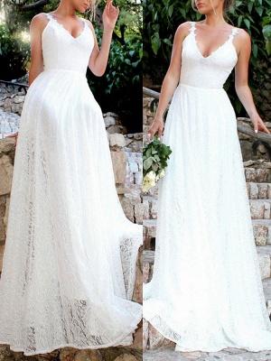 Robes de mariée simples 2021 A Line V Neck Straps Backless Floor Length Classic Robes de mariée_2