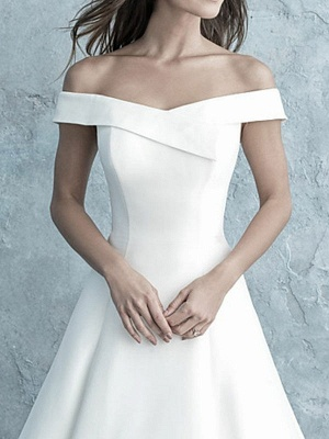 Simple Wedding Dress Off The Shoulder Matte Satin Short Sleeves Buttons A Line Bridal Gowns_3