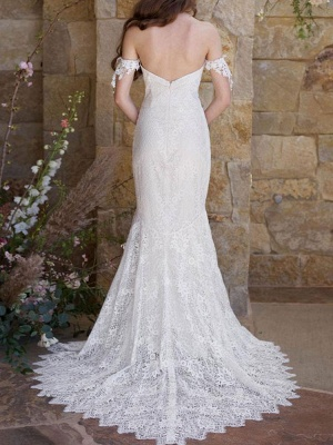 Simple Wedding Dresses 2021 Lace Sweetheart Off The Shoulder Mermaid Bridal Gown With Train For Boho Wedding_2