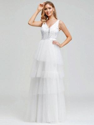 Vestido de novia 2021 Una línea Cuello en V Sin mangas Vestido de pastel de tul multicapa Vestido de novia_6