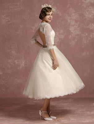 Vintage Brautkleid Kurze Spitze Tüll Brautkleid Halbarm V-Ausschnitt Backless A-Linie Blume Schärpe Tee Länge Brautkleid Exklusiv_3