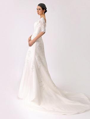 2021 Vintage inspiré de l'épaule robe de mariée en dentelle sirène exclusive_4