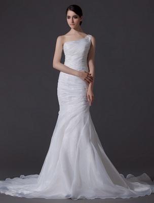 Ivory One-Shoulder Ruched Organza Mermaid Wedding Dress_1