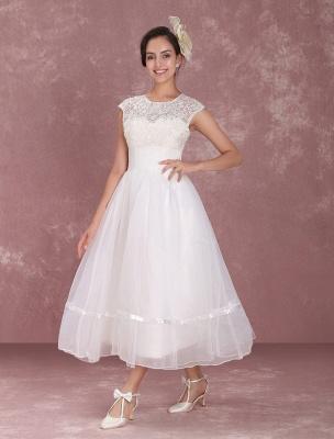Mini robe de mariée élégante en filet à col rond_4