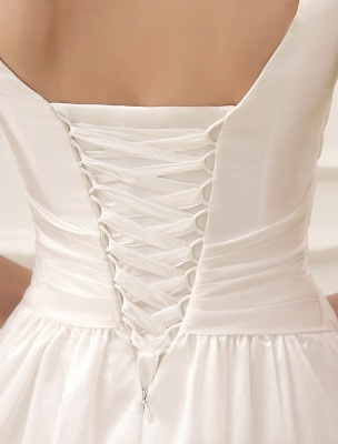 Simple Wedding Dresses Ivory Wedding Dress Knee-Length Backless Straps Lace Bridal Dress Exclusive_7