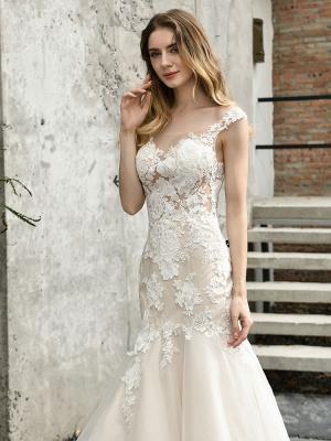 Wedding Dress Jewel Neck Sleeveless Natural Waist Lace Bridal Mermaid Dress With Train_2