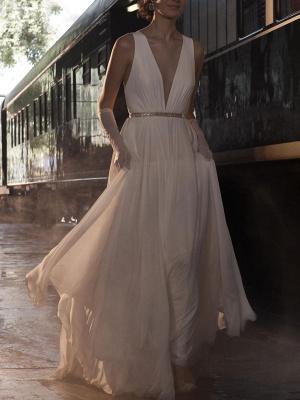 Wedding Dress Deep V-Neck Beaded Sash Chiffon Bridal Dress_6