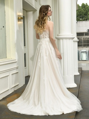 Bridal Dress 2021 One Shoulder Sleeveless Buttons Bridal Dresses With Train_6