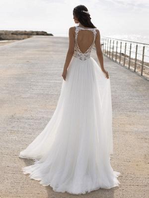 White Simple Wedding Dress V-Neck Sleeveless Backless Natural Waist Lace Chiffon A-Line Long Bridal Dresses_2