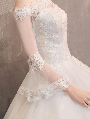 Spitze Brautkleider Elfenbein Schulterfrei Spitze Applique Prinzessin Brautkleid_9