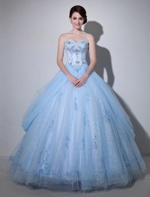 Robe de mariée bleue robe de bal en dentelle longueur au sol chérie sans bretelles perles princesse robe de mariée exclusive_1