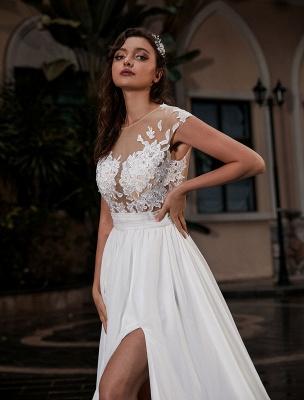 Vestido de novia Playa Corte en A Silueta Joya Cuello Encaje Corpiño Gasa Vestido de novia_4