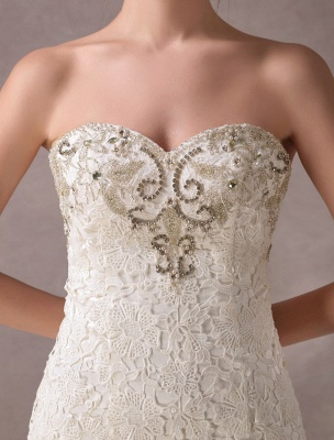 Mermaid Wedding Dresses Lace Strapless Ivory Sweetheart Beaded Bridal Dress With Train Exclusive_8